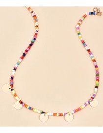 Fashion Color Mixing Round Piece Rice Bead Bead Alloy Necklace