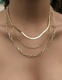Fashion Gold Color Snake Bone Chain Alloy Multilayer Necklace