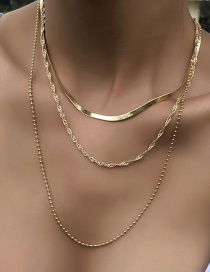 Fashion Gold Color Twisted Bead Chain Alloy Multilayer Necklace