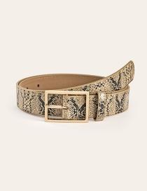 Fashion Serpentine Beige Alloy Snake Belt With Japanese Buckle