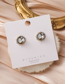 Fashion Color Mixing Handmade Pearl Crystal Round Earrings