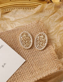 Fashion Gold Color Pearl Hollow Flower Oval Earrings