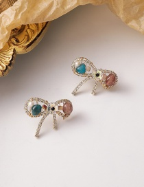 Fashion Color Mixing Crystal Bow Beaded Alloy Earrings