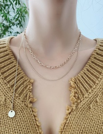 Fashion Gold Color Disc Chain Alloy Multilayer Necklace