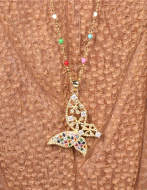 Fashion Color Mixing Micro Inlaid Zircon Butterfly Hollow Pendant Necklace