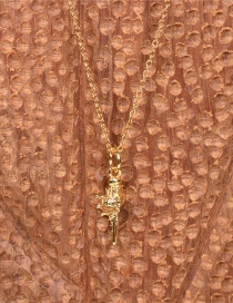 Fashion Gold Color Three-dimensional Conch Pendant Copper Plated Real Gold Necklace