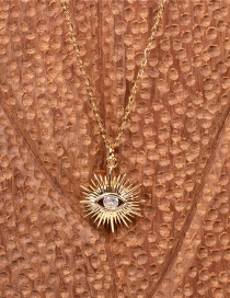 Fashion Gold Color Gold-plated Necklace With Diamonds And Eyes
