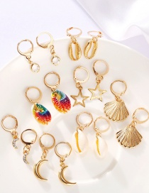 Fashion Color Mixing Scallop Star Moon Shell Earring Set
