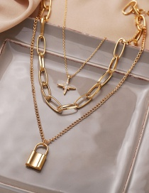 Fashion Gold Color Eight-pointed Star Lock Pendant Thick Chain Multilayer Necklace