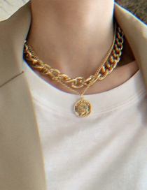 Fashion Gold Color Alloy Head Pendant Thick Chain Multilayer Necklace