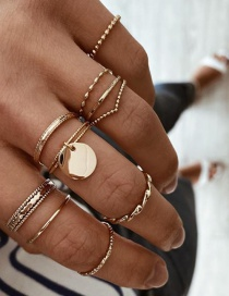 Fashion Gold Color Circle Geometry Alloy Ring Set