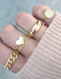 Fashion Gold Color Love Geometric Oval Alloy Ring Ring Set
