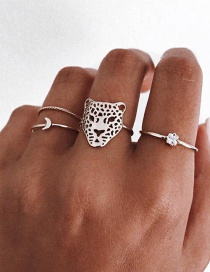 Fashion Silver Color Leopard Head Hollow Geometric Alloy Ring Set