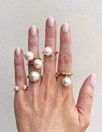 Fashion Gold Color Pearl Round Alloy Open Ring Set