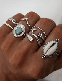 Fashion Silver Color Shell Snake Shaped Star And Moon Alloy Ring Set