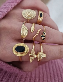 Fashion Gold Color Leopard Head Flying Dove Geometric Alloy Ring Set