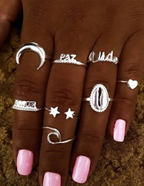 Fashion Silver Color Alphabet Shell Five-pointed Star Alloy Ring Set
