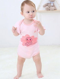 Fashion Jellyfish Short Sleeve Romper Animal Print Contrast Color Newborn Short-sleeved Romper