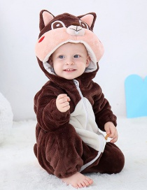 Fashion Squirrel Romper Animal Contrast Color Flannel Baby Romper