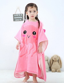 Fashion Pink Jellyfish Hooded Whale Jellyfish Kids Hooded Bath Towel