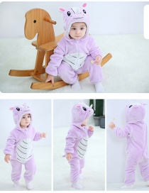 Fashion Purple Rhino Animal Color Contrast Baby One-piece Romper