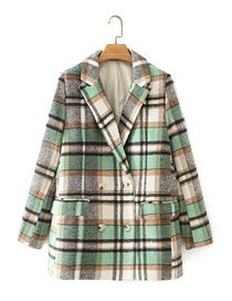 Fashion Green Woolen Check Double-breasted Suit Jacket