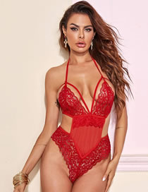 Fashion Red Lace Perspective One-piece Pajamas Set