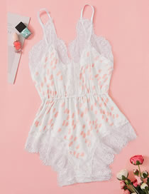 Fashion White Lace Edge Sling Polka Dot One-piece Underwear