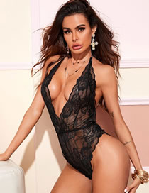 Fashion Black Lace Hollow Halterneck See-through Three-point Jumpsuit