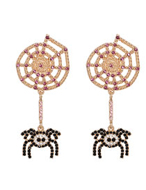 Fashion Spider Spider Insect Diamond Alloy Hollow Earrings