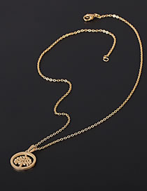 Fashion Gold Color Tree Shaped Hollow Pendant Stainless Steel Necklace