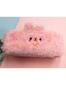 Fashion Pink Large Capacity Plush Embroidery Bear Ear Stationery Bag