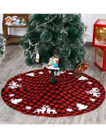 Fashion Red And Black Grid 122cm Christmas Embroidered Plaid Elk Tree Snowflake Skirt