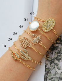 Fashion 2#gold Color Copper Inlaid Zircon Cactus Bee Shell Bracelet