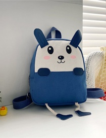 Fashion 16 Inch One Blue Canvas Bunny Elephant Stitching Contrast Backpack