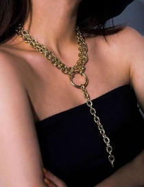 Fashion Gold Color Thick Chain With Ring Pendant Multilayer Necklace