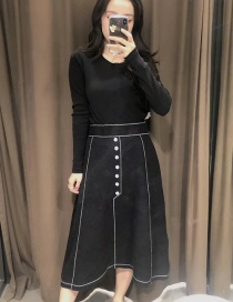 Fashion Black Shell Color Contrast Elastic Waist A Version Knitted Skirt