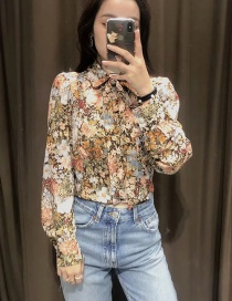 Fashion Printing Printed Bow Tie And Pearl Button Cropped Top