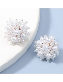 Fashion Silver Color Color Alloy Inlaid Pearl Flower Earrings