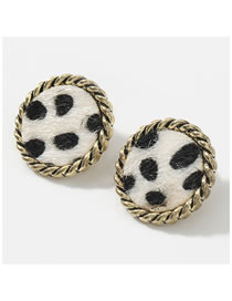 Fashion Round White Square Round Lace Alloy Leopard Flannel Flocking Earrings