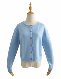 Fashion Blue Round Neck Knitted Single-breasted Cardigan Sweater