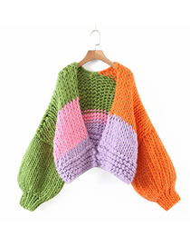 Fashion Color Mixing Loose Fully Hand-knitted Color-block Sweater Sweater
