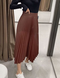 Fashion Red Wine Faux Pu Leather Pleated Skirt