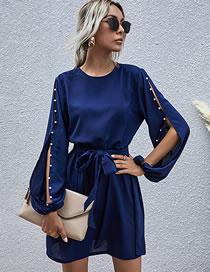 Fashion Sapphire Long Sleeve Beaded Round Neck Belt Dress