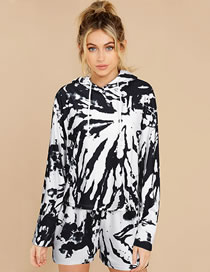 Fashion Black Tie-dye Loose Hooded Sweatshirt Shorts Suit