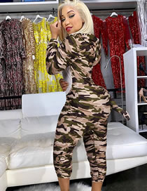 Fashion Camouflage Hooded Tail Leopard Print Jumpsuit Acting Costume