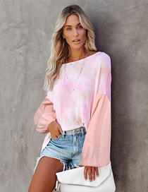 Fashion Pink Loose Tie-dye Round Neck Print Long-sleeved Top