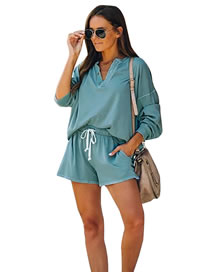 Fashion Blue Loose Solid Color Long-sleeved V-neck T-shirt Shorts Suit