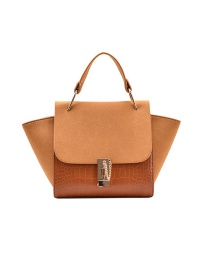 Fashion Brown Frosted Chain Contrast Wing Single Shoulder Messenger Bag