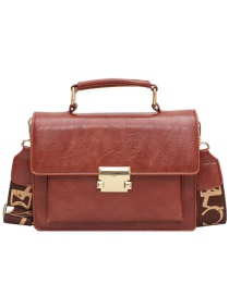 Fashion Brown One-shoulder Crossbody Bag With Wide Buckle Strap